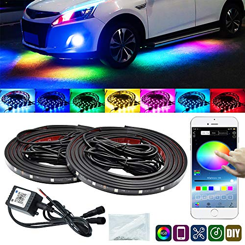 YEERON Car Underglow LED Light KitsBluetooth 40 RGB Color LED Strip Lights with App ControlSync to Music 4 PCS2x59  2x75 inch Waterproof for All Cars