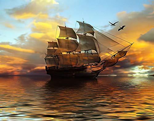Y·JIANG Pintura por números barco velero contra hermoso paisaje negro brillante DIY lienzo acrílico pintura al óleo por números para adultos niños decoración de la pared del hogar, 40,6 x 50,8 cm