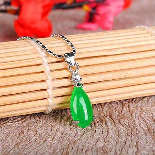 SWAOOS Colgante De Gota De Agua De Jade Verde Natural, Collar De Plata 925, Accesorios De Joyería con Encanto Chino, Amuleto De Moda para Hombres Y Mujeres, Regalos