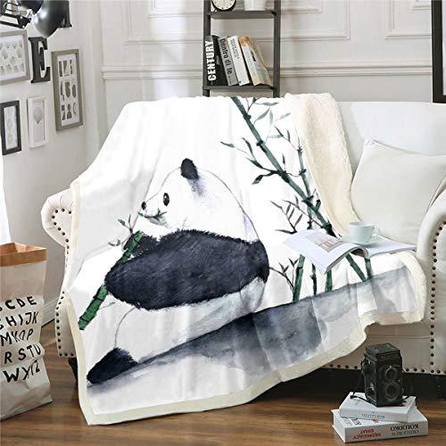 Manta de forro polar panda panda gigante de dibujos animados para niños, diseño de animales de bambú, manta de felpa impresa de acuarela para sofá, cama, bebé, 76 x 106 cm