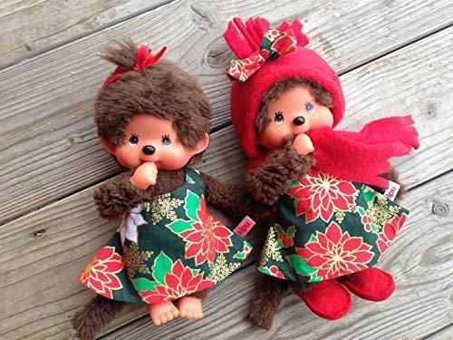 Puppenkleidung handmade passend für MONCHICHI Gr. 20 cm Kleid Weihnachten Glitzer gold NEU
