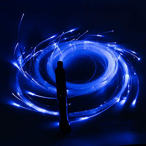 SAFEBAO LED Fiber Optic Whip Rechargeable with 7 Colors and 4 Glowing Modes, 130cm Light whip Perfect for Dance Space,Parties,Light Shows,Music Festivals,Light Up Rave Toy