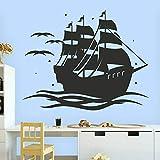 HFDHFH Barco Pirata Tatuajes de Pared Barco Vela Tesoro Arte Divertido Puertas y Ventanas Pegatinas de Vinilo niños Dormitorio decoración de Interiores murales