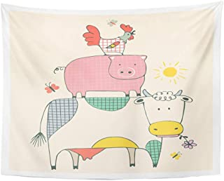 SPXUBZ Wall Tapestry Colorful Child Farm Animals Cow Pig and Cock Rooster Cute Wall Hanging Decoration Soft Fabric Tapestry Perfect Print for House Rooms