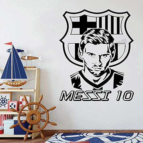 Fútbol Deportes Fútbol FC Barcelona FCB Logo Sign Lionel Messi Retrato Etiqueta de la pared Etiqueta engomada del coche Calcomanía de vinilo Boy Fans Dormitorio Sala de estar Club Decoración