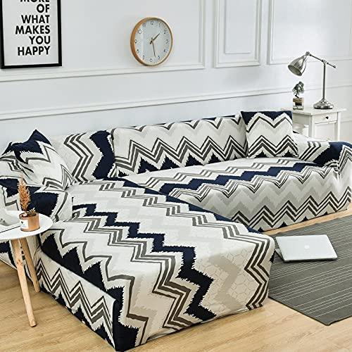 Fundas de sofá elásticas Impresas para Sala de Estar Funda de sofá Esquina en Forma de L Chaise Longue Sillón Sofá Funda A21 4 plazas