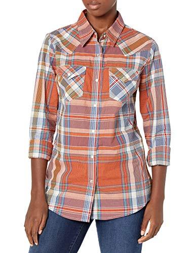 Wrangler Women's Western Long Sleeve Snap Shirt, Orange/Blue, 3X-Large