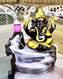 CraftJunction Handcrafted Lord Ganesha Smoke Backflow Cone Incense Holder Decorative Showpiece with 10