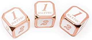 Haxtec 3 Pack Metal Dice DND Dice D6 Set for Dungeons and Dragons D&D RPG MTG Table Games-Pack of 3 (Copper/Rose Gold White-Rounded)