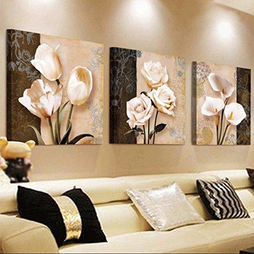 Mr.Zhang's Art Home Painting 60 * 60 * 2.5 cm Salon Peinture canapé Fond Mur Peinture Triple Peinture fresque Nordique Restaurant Peinture