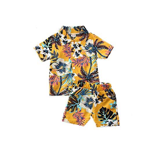 I3CKIZCE Conjunto de ropa para niños pequeños, de manga corta, estilo bohemio, con botones, camiseta y pantalones cortos, 2 piezas, para verano, para la playa, 1 – 5 años amarillo 2-3 años