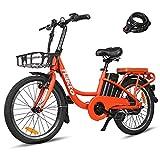 "Trekpower 20""Electric Bike, 250W Dual Disc Brake Ebike for Female, City Electric Bikes for Adults&36V10AH Battery-(Red/White)"