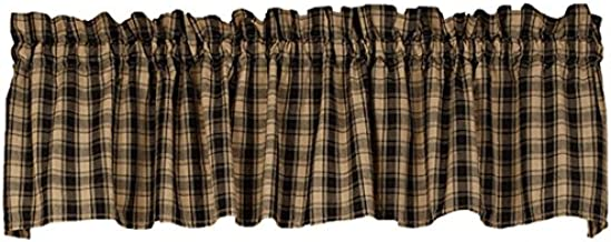 The Country House Collection Colonial Navy Star Check Cotton Valance (72x14) (Black Lexington Valance)