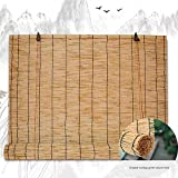 Cortina Enrollable de bambú, Cortinas de bambú, Cortinas de Ventana, Cortinas de bambú Tejidas Naturales, Transpirable, Parasol/Aislamiento térmico, para Exteriores/Interiores, tamaño Personalizable