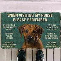 プリントフロアマットエリアマットドアマット子犬マット3D覚えておいてくださいローデシアンリッジバックドッグハウス屋外屋内ドアマットフロアマットリビングルームソファクッションホリデーギフトクリスマスハロウィーン