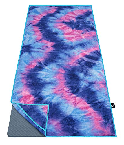 """Ewedoos Yoga Towel with Anchor Fit Corners, 100% Microfiber Non Slip Yoga Towel, Super Soft, Sweat Absorbent, Ideal for Hot Yoga, Pilates and Workout (Bluepink,72"""")"""
