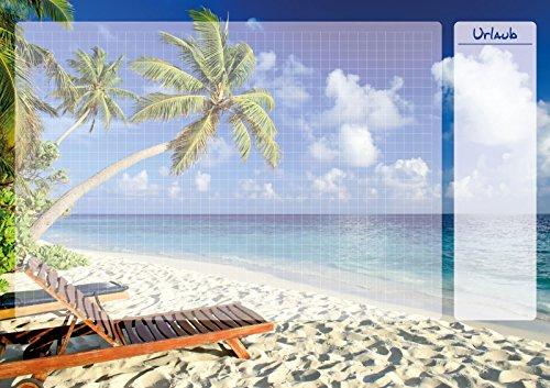 Schreibtischunterlage Papier Urlaub mit transparenter Schutzkante/60x42cm Block mit 25 Blatt/Schreibunterlage