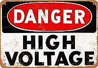 危険高電圧ビンテージルック再生金属サイン