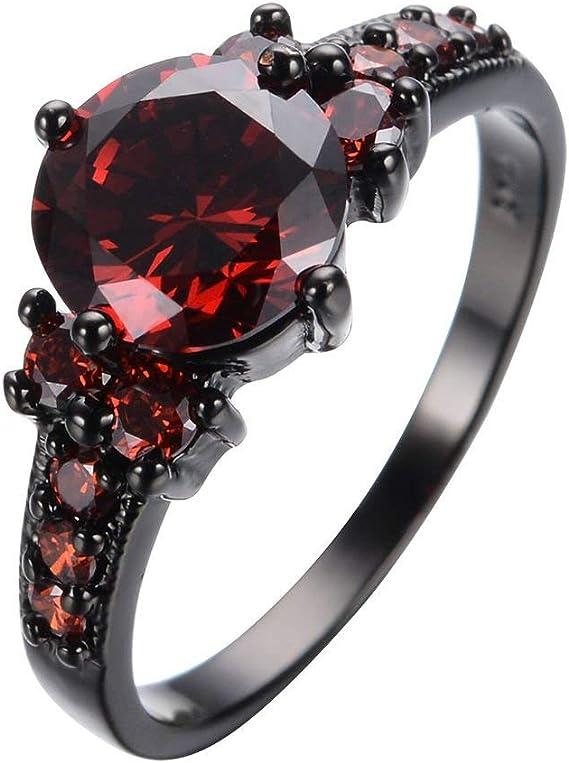 Yuren Vintage Ruby Red Garnet Wedding Promise Band Ring 10KT Black Gold Filled Size 6-10 (Size 7)
