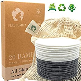 20 Packs Reusable Makeup Remover Pads – Organic Natural Bamboo and Bamboo Charcoal Set for Light and Heavy Makeup and Skin Care With Laundry Bag