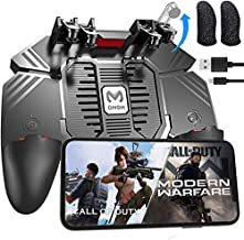 """Tomoda Mobile Game Controller for Android/iOS with Cooling Fan/Finger Sleeves, Phone Controller for PUBG/Fortnite/Call of Duty, L1R1 Mobile Triggers for 4.7""""-6.5""""Phones"""