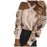 MA87 Sexy Pullover Damen, Trägerlos Sweatshirt Langarmshirt Rundhals Langarm Shirts Herbst Winter Pulli Tops Oberteile, Elegant und individuell