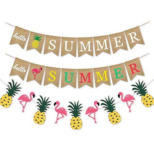 Jodsen Hawaiian Banner Garland,Hello Summer Pineapple Flamingo Pattern Bunting Burlap Banner,Tropical Garland Swallowtail Shaped Pull Flag Garland,Decoration for Popsicle Pool Beach Party