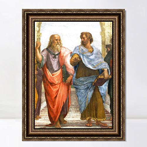 """INVIN ART Framed Canvas Art Giclee Print Aristotle and Plato by Raphael/Raffaello Sanzio Wall Art Living Room Home Office Decorations(Vintage Embossed Gold Frame,24""""x32"""")"""