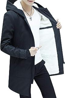 XINHEO Mens Drawstring Warm Velvet Mid Long Stand Collar Duster Coat