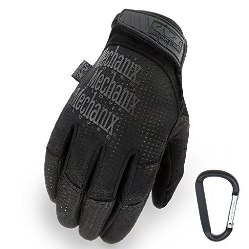 Mechanix WEAR Tactical Vent 2017 Einsatz-Handschuh, extrem atmungsaktiv, touchscreenfähig & abriebfest + Gear-Karabiner, in Schwarz & Coyote/Größe S, M, L, XL (L, Schwarz)