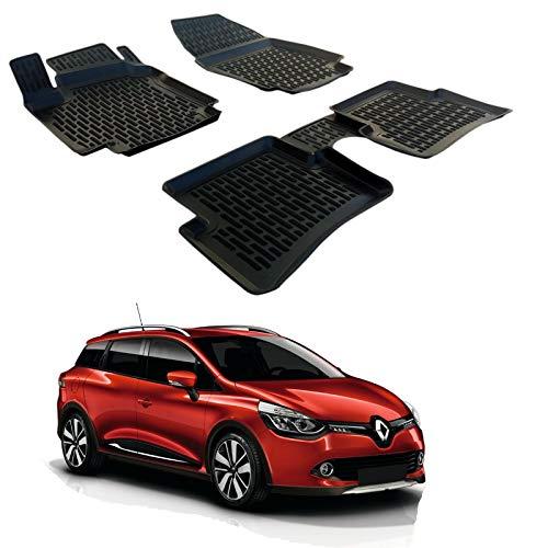 SCOUTT | 3D Tapis DE Sol en Caoutchouc Premium Compatible avec Renault Clio IV 2013-2019 4 pc