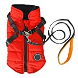 Norbi Pet Warm Jacket Small Dog Vest Harness Wih Leash Puppy Winter 2 in 1 Outfit Cold Weather Coat