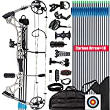 XGeek Compound Bow Kit, Hunting and Target,with All Accessories,Limb Made in USA,10 Gears Adjustment Range,Draw Weight 30-70 lbs, Draw Length 19-31',320 Fps Speed,for Hunter and Archery Enthusiast