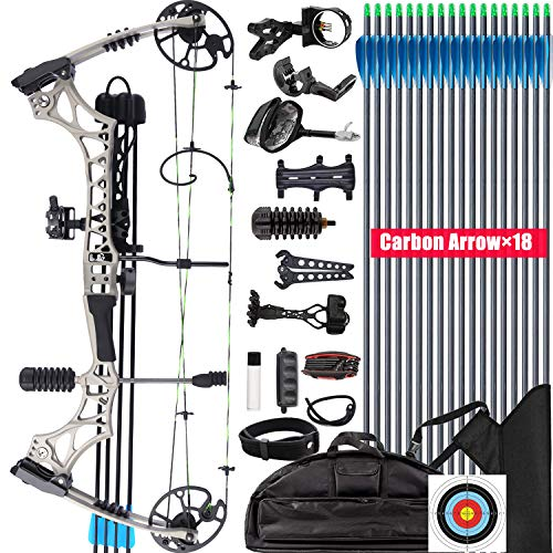 XGeek Compound Bow Kit, Hunting and Target,with All Accessories,Limb Made in USA,10 Gears Adjustment...