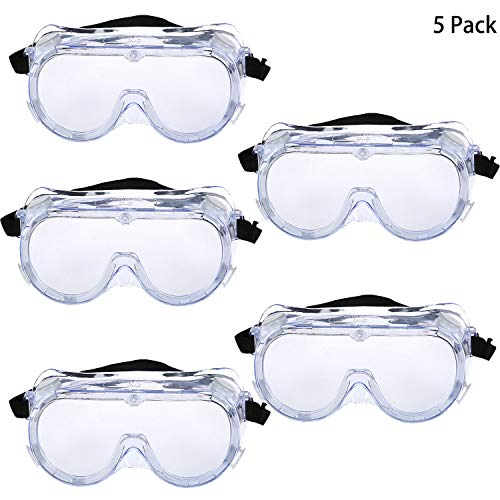 Trounistro 5 Pack Safety Goggles Technician Protective Safety Goggle Adjustable Goggles with Vision for Eye Protection