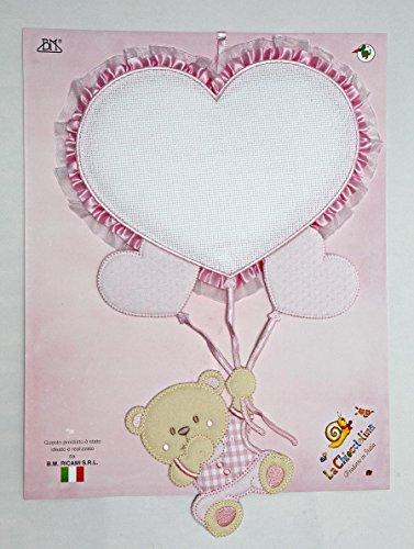 fiocco nascita palloncino cuore rosa e orsetto da ricamare