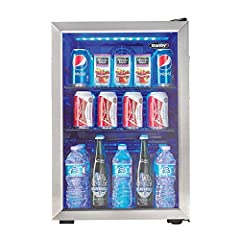 2.6 cu. ft. beverage centre stores up to 95 soda cans (12 oz /355 ml) Temperature ranges 6°C - 15°C (43F - 57F) Superior Fan forced cooling maintains a consistent internal temperature throughout the cabinet Easy access mechanical thermostat Blue LED ...