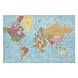 Mesllings Jigsaw Puzzles for Adults 1000 Pieces - Vintage World Map Simple Design Wooden Jigsaw Puzzles for Adults Entertainment for Creative Gift Home Decor (Without Frame)