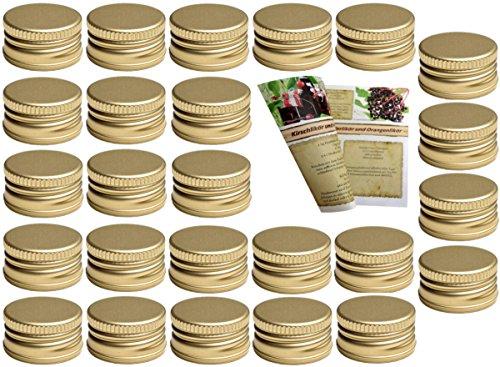 gouveo 100er Set Schraubverschluss PP 28 Gold und 28-seitige Flaschendiscount-Rezeptbroschüre für Flaschen Aluminium Flaschendeckel