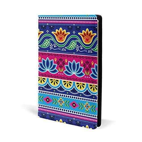 Taccuino etnico indiano con fiori di loto e fiori di loto in pelle, per scuola, ufficio, quaderno con copertina rigida, formato A5, 14,8 x 22,8 cm, per ragazze e ragazzi