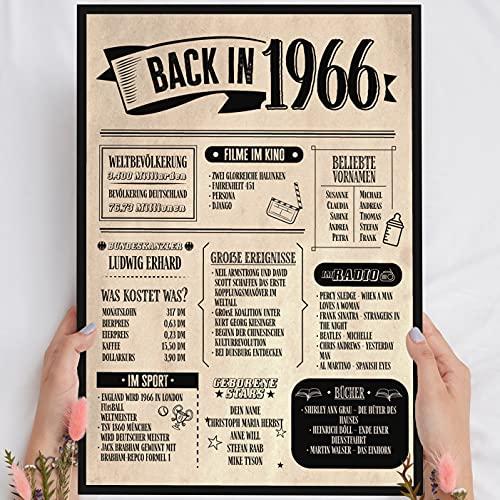 Holzbild: Alte Zeitung - Geschenk 55 Geburtstag Back in 1966 Vintage - personalisierbar zum Hinstellen/Aufhängen optional beleuchtet, 55 Geburtstag Frau - Wand-Bild Aufsteller - persönliches Geschenk
