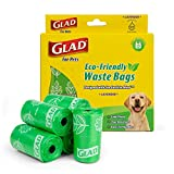 Glad Eco Friendly Dog Waste Bags | 8 Rolls of Lavender Scented Dog Waste Bags, 120 Bags in Total | Earth Friendly Dog Waste Bags for All Dogs, Leak Proof and Strong Dog Poop Bags