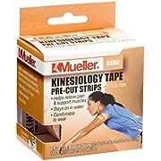 """Mueller Sports Medicine Kinesiology Tape Pre-Cut Strips, Beige, 20 Strips (2"""" x 9.75"""" each)"""