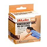 Mueller Sports Medicine Kinesiology Tape Pre-Cut Strips, Beige, 20 Strips