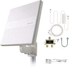 Antop TV Antenna, Amplified HDTV Outdoor Indoor Antenna with 360°Omnidirection Reception and 2 Way Splitter for 4K HD Freeview Life Local Channels All Type Television