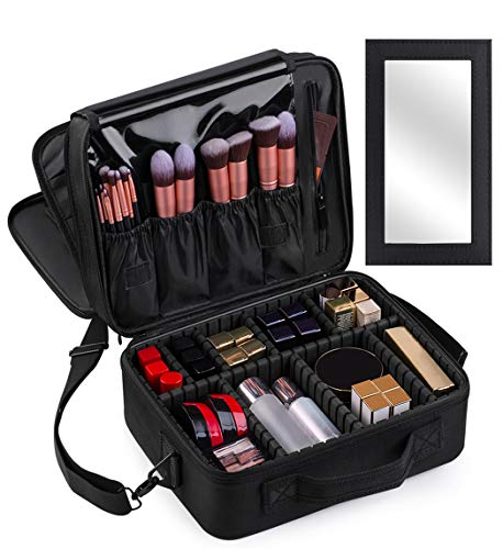 Kootek Large Travel Makeup Bag 3-Layer Cosmetic Train Case Portable Toiletry Organizer with Mirror Removable Dividers Shoulder Strap for Makeup Tools Brushes Jewelry Digital Accessories