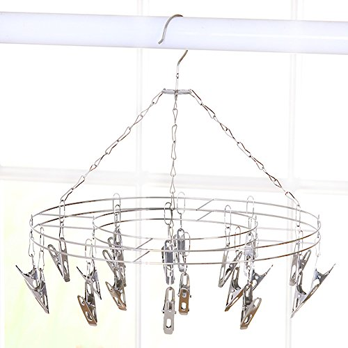 Lecent@Round Stainless Steel Laundry Drying Rack Hanger with 20 Solid Clips For Drying Socks, Kids Clothes, Bra, Towel, Underwear, Hat, Scarf, Pants, Gloves (20 flat clips)