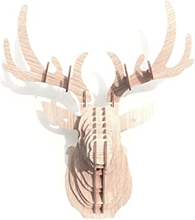 Hooshing Deer Head Wall Decor Trophy Sculpture DIY 3D Puzzle Beige
