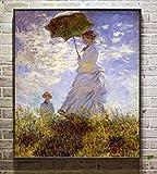 DOUFU Art Handgemaltes Ölgemälde,Die Frau Mit Dem Sonnenschirm Kind Im Sommer Terrasse Clissical Berühmte Handgemalte Ölgemälde Von Van Gogh Reproduktion Große Moderne Giclee...