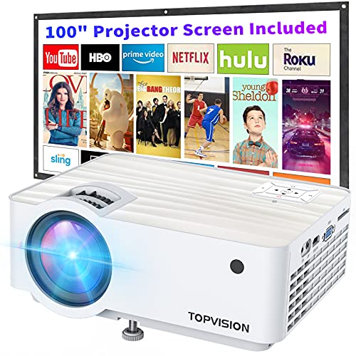 """Video Projector, TOPVISION 5500L Portable Mini Projector with 100"""" Projector Screen, 1080P Supported, Built in HI-FI Speakers, Compatible with Fire..."""